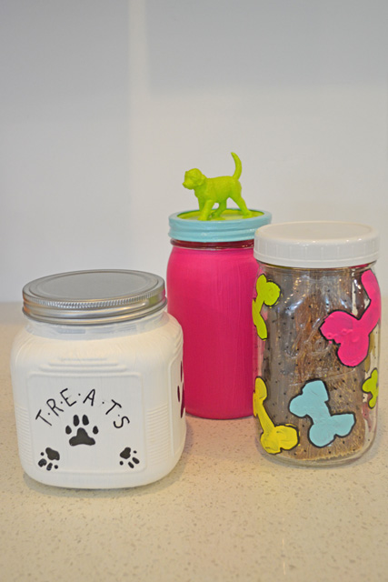 Painted Dog Treat Jars